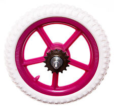 "KIDS 11"" Rear PLASTIC Bike Bicycle WHEEL IN FUCHSIA PINK AND WHITE (Childrens)"