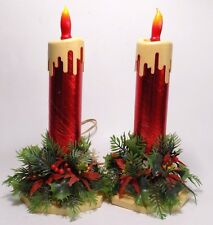 2 Christmas Candle Lights Plastic Holly Base C 7/12 Flame Bulb Dripping ACLA VTG