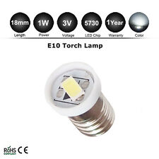 1x bright 1W E10 SMD 5730 LED BULBS MES SCREW TORCH HEADLAMPS DC 3V NEW