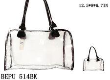 See-Thru Clear Plastic Jelly Plastic Duffle Purse Bag - BEPU 514 BK