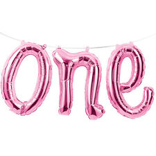 "Pink ONE Script 12"" Balloon Phrase Kit 1st First Birthday Party Decorations Prop"