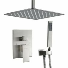Shower Faucet System Set Brushed Nickel 16 inch Rain Shower Head With Box Valve