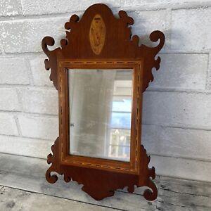 """Antique 1800s Small Inlayed Wood Mirror George Scheiner & Son N.J. 13 1/4"""" Tall"""