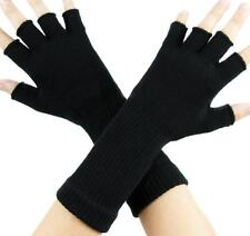 Plain Black Fingerless Gloves Arm Warmers Goth Punk Emo Alternative Psychobilly