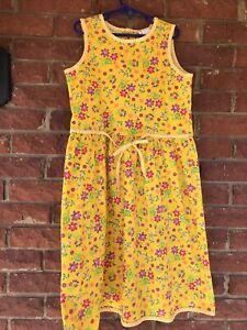 Hanna Andersson Girls Dress Sze 10 140 Sleeveless Sundress yellow floral summer