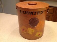 EUC Vintage C 1950's Wooden Shaker Style Cookie Jar Box Container Handpainted