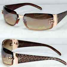 New DG Eyewear Womens Rectangular Sunglasses Fashion Wrap Oval Shades Gold Brown