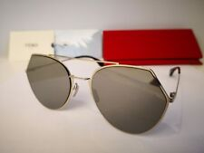 New FENDI Eyeline FF0194 3YG 0T Aviator Sunglasses Light Gold Grey Silver  Mirror 0dedd48d84
