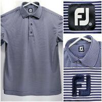 FootJoy FJ Mens Medium Golf Shirt Polo Navy Blue White Striped Polyester