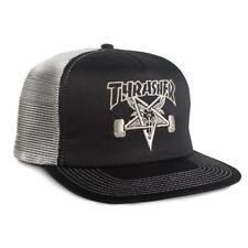 Thrasher Magazine EMBROIDERED SKATE GOAT Skateboard Trucker Hat BLACK/SILVER