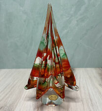 "Vintage Murano Italy Art Glass 8.75"" Red and Green Swirl Christmas Tree"