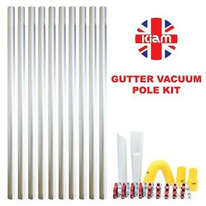 Long Reach Gutter Vacuum Pole Kit Set Drain Pipe Sucker Hoover Cleaning System