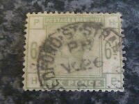 GB QV 1884 POSTAGE & REVENUE STAMP SG194 SIX PENCE DULL GREEN FINE USED