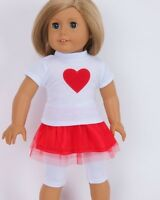 "Red Heart Shirt Leggings Skirt Outfit fits American Girl 18"" doll clothes"