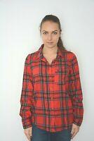 New Womens Ex Next Red Tartan Check button Up Pocket Shirt Top Blouse Size 6-14