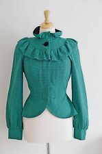 """GREEN jacket vintage TOPSHOP 1930's 40's pierot collar FITTED bustle 12 10 36"""""""