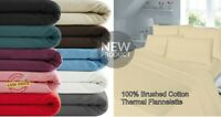 "100% Brush Cotton Thermal Flannelette Duvet Cover 16"" Deep Fitted Sheet Flat 4Ft"