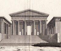 Gravure XVIIIe  Acropole d'Athènes Propylées Acropolis of Athens Acrópolis 1780