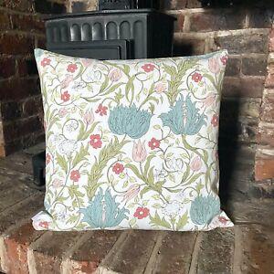 844. Handmade Eleanore Duck egg blue flowers 100% Cotton Cushion Cover