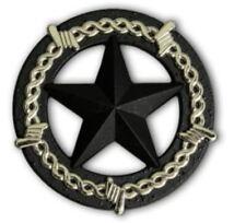"""2943SB-M50 1 1/2"""" Cast Iron & Silver Barb Wire Star Concho"""