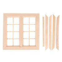 1:12 Dollhouse Miniature Mini Wooden 16 Pane Window Model DIY Access NP YK