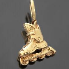 3D INLINE SKATE ROLLERSKATE 14K GOLD Layered Charm Pendant + LIFETIME GUARANTEE