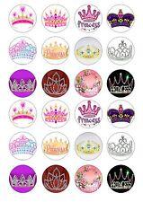 24 Princess Corone/Tiara Cupcake Topper Wafer Riso Commestibili Decorazioni per Torta Fata