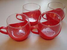 4 Melitta Teeglashalter, rotes Plastik und Glas, 60iger Jahre Kult