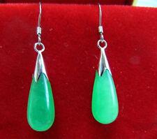 New Pair Green Jade Hook Teardrop Dangle Earrings