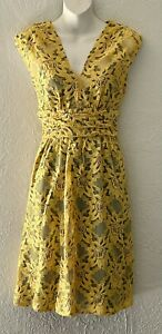 Tracy Reese Sleeveless Yellow And Blue Fully Lined Lace Dress Sz 6