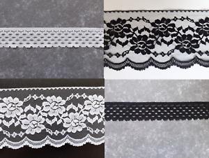 Spitzenborte Spitzenband Häkelspitze Bordüre 3,5 cm 12 cm Schwarz Weiß Ecru Deko