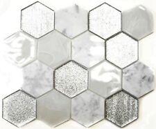 Glasmosaik Naturstein Hexagonal mix grau/silber Küche 11E-88 | 10 Mosaikplatten