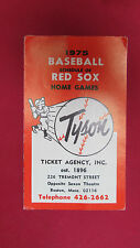 BOSTON RED SOX 1975 BASEBALL SCHEDULE FROM TYSON TICKET AGENCY