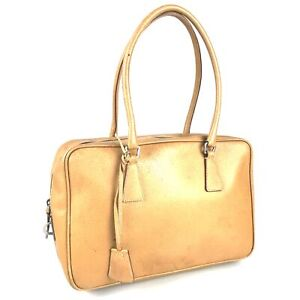 100% authentic PRADA Leather handbags camel Used 1052-12A92