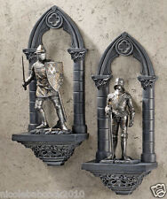 SET OF 2 MEDIEVAL GOTHIC KNIGHTS CASTLE WALLS ARCHITECTURAL SCULPTURE DECOR