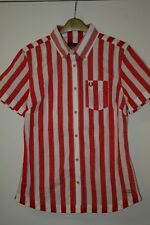 Fred Perry x Southsea Deckchairs White/Red Womens Shirt UK10 EUR38 US6 RARE Mint