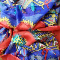 Vintage Aztec Print Scarf ART Satin Silk 62x21 Inch Red Blue Gold