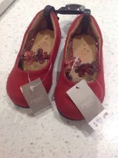 BNWT GIRLS RED FAUX SUEDE PARTY SHOES, GLITTER FLOWERS, NEXT SIZE UK 4 RRP £12