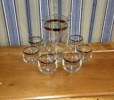 New listing Crystal Cocktail Mixer w/ Glass Stir Stick & 6 Matching Glasses *Silver Trim