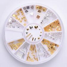 Gemischt Nagel Kunst Strasssteine Steinchen im Rondell Gold Silber Dekor Glitter