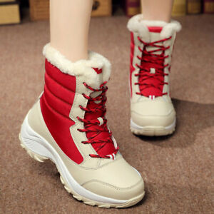 Womens Retro Snow Boots Shoes Ankle High Top Winter Warm Outdoor Casual Non-Slip