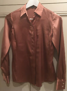 ANN TAYLOR Petite silk long sleeve shirt in rust Sz XXS
