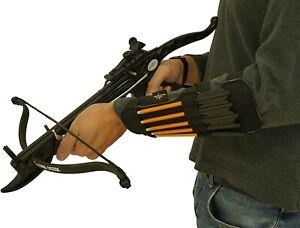 "SAS 9"" Pistol Crossbow Bolt Slots Holders Quiver Armguard w/ 12 x Aluminum Bolts"