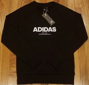Adidas Women's Essential All Caps Crewneck Sweatshirt Black Size Small
