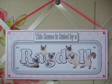 Handmade Ragdoll Cat This House Ruled by a Hanging Sign Plaque Card Pink Kitten