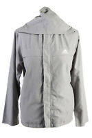 Vintage Adidas Womens Zip Up Tracksuit Top Three Stripes Hooded M Grey - SW2478