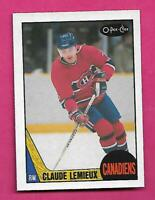 1987-88 OPC  # 227 CANADIENS CLAUDE LEMIEUX ROOKIE NRMT-MT CARD (INV# C4565)