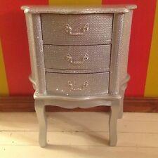 SILVER DIAMONTE FRENCH STYLE CHEST OF DRAWERS BEDSIDE CABINET - BLING - SPARKLEY