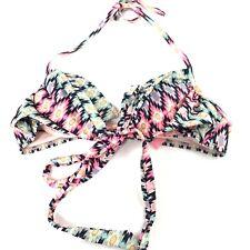 Victorias Secret Bikini Top 34A Wrap Halter Aztec Tribal Pink Blue Purple 3PT