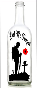 Vinyl Decal Sticker for Wine bottle lest we forget soldier cross remembrance